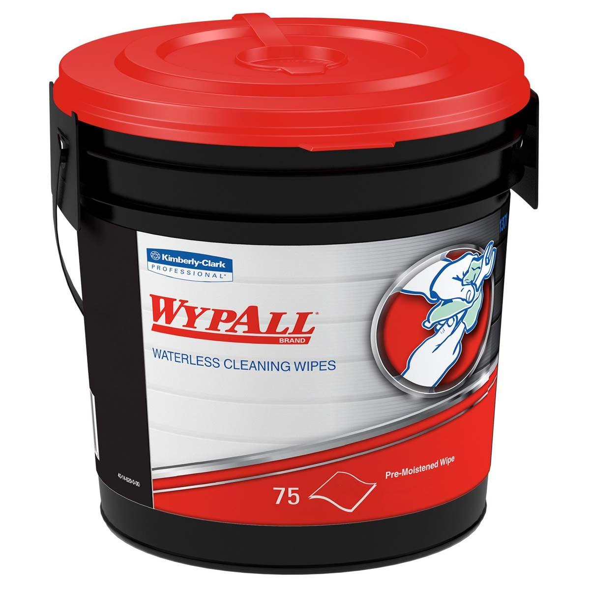 Wypall Waterless Industrial Cleaning Wipes (91371), Heavy Duty Moist Wipers, 6 Containers / Case, 75 Sheets / Container