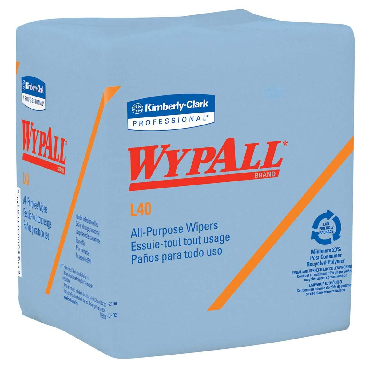 WypAll L40 Disposable Cleaning and Drying Towels (05776), Limited Use Wipers, Blue, 12 Packs per Case, 56 Sheets per Pack, 672 Sheets Total