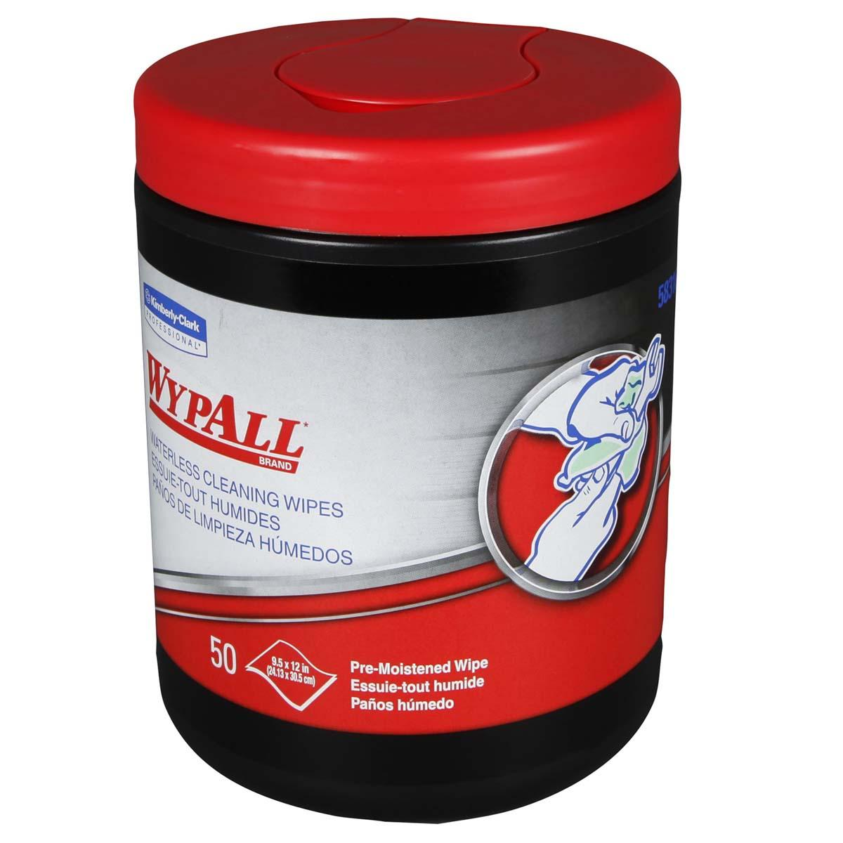 Wypall Waterless Industrial Cleaning Wipes (58310), Heavy Duty Moist Wipers, 8 Portable Canisters of 50 Sheets