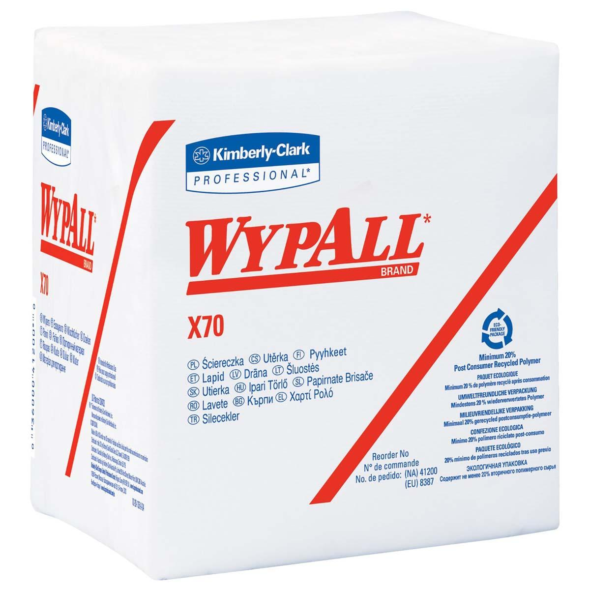 WypAll X70 Extended Use Reusable Wipers (41200), Quarterfold, Long Lasting Performance, White, 12 Packs, 76 Sheets / Pack