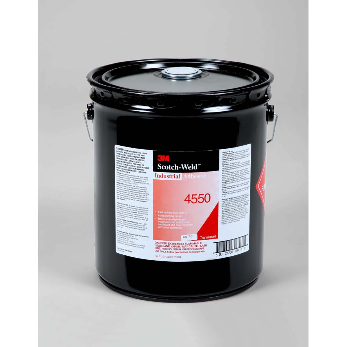 3M Industrial Adhesive 4550 Translucent, 5 gal pail, 1 per case