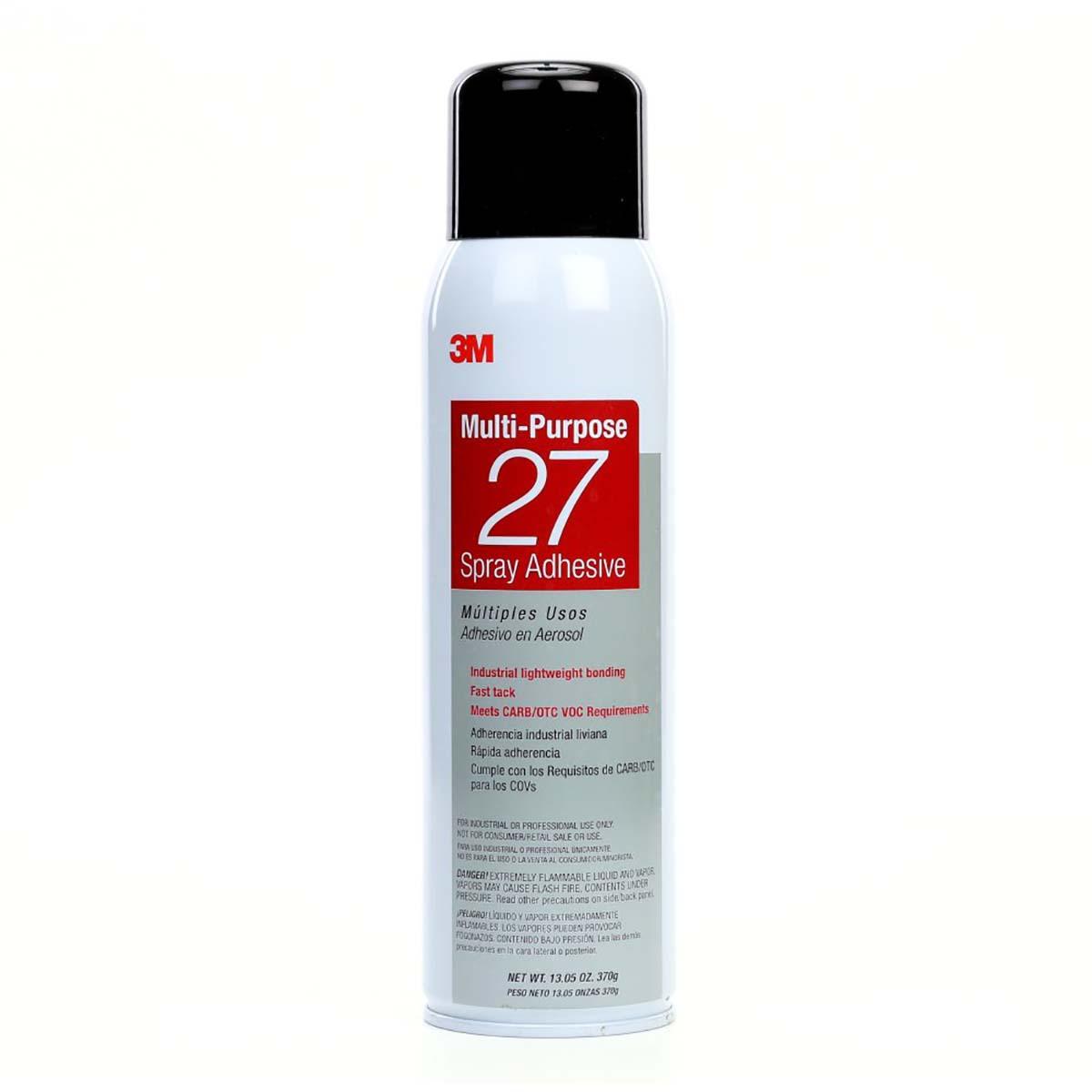 3M Multi-Purpose 27 Spray Adhesive Clear, Net Wt 13.05 oz, 12 cans per case