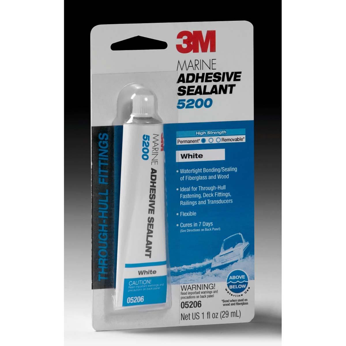 3M Marine Adhesive Sealant 5200 White, PN05206, 1 oz Tube , 12 Tubes per case