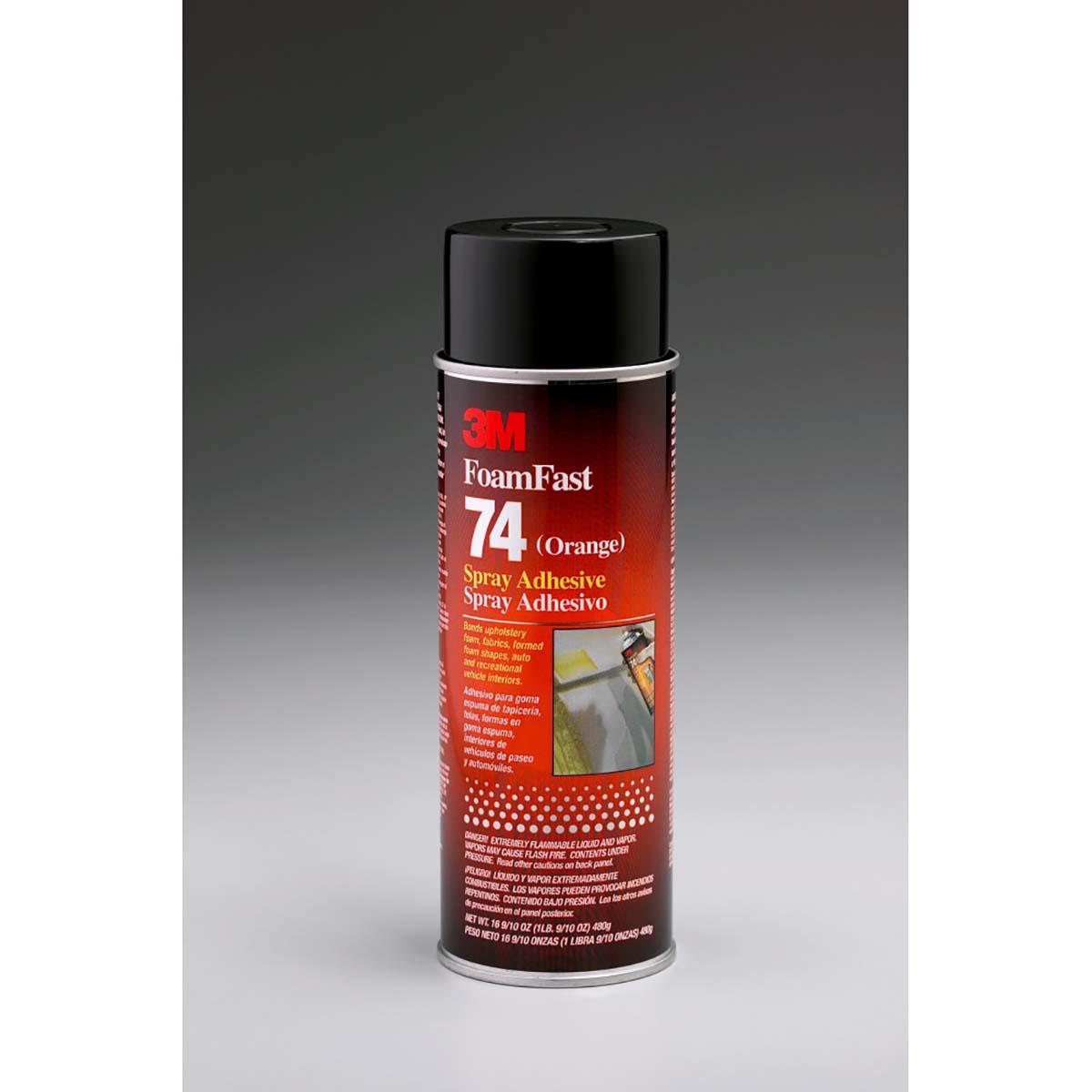 3M Foam Fast 74 Spray Adhesive Orange, Net Wt 16.9 oz, 12 per case