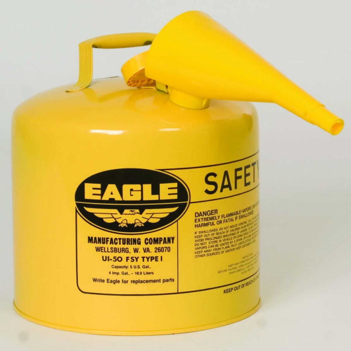 5 Gal. Metal - Yellow w/F-15 Funnel