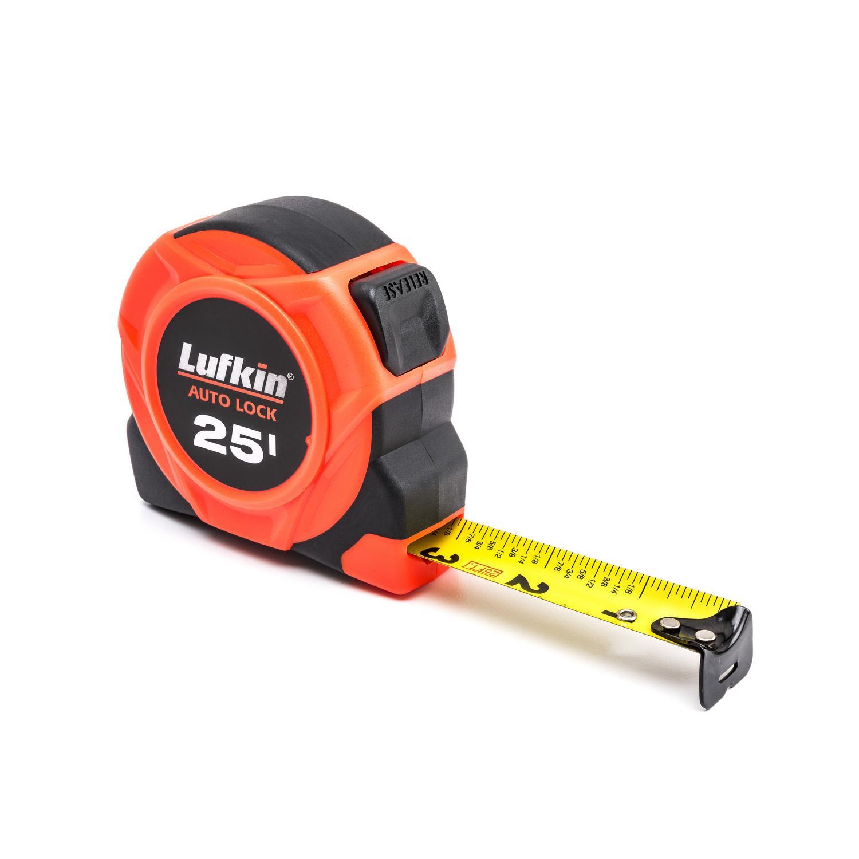 "1"" x 25' Hi-Viz Orange Auto-Lock Yellow Clad Tape Measure"